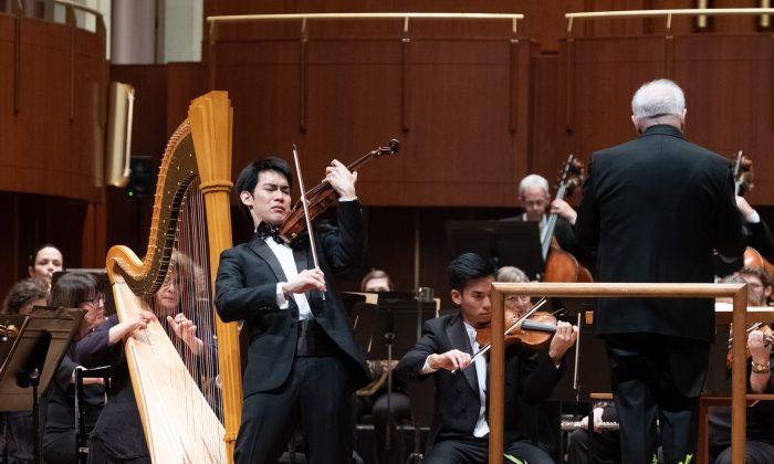 "IVCI gold medalist Richard Lin performing Bruch's ""Scottish Fantasy"" in the Finals. (Denis Ryan Kelly Jr.)"