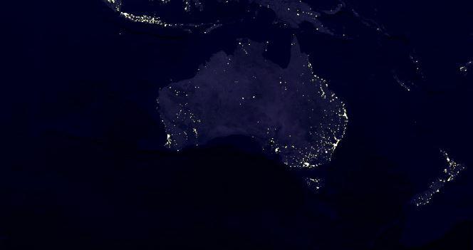 A photo taken by satellite of Australia's lights at night, on Oct. 19, 2000. (NASA/GSFC)