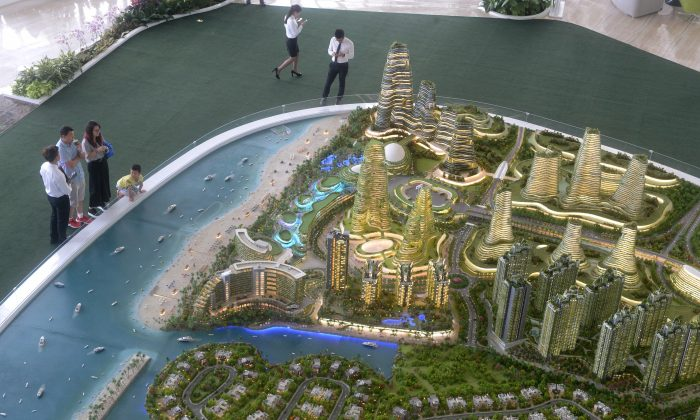 Scale model of development at Forest City in Johor, Malaysian on April 19, 2016. (ROSLAN RAHMAN/AFP/Getty Images)