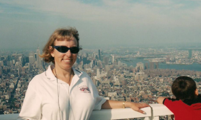 Elinda on top of the World Trade Center on September 9, 2001. (Courtesy of Linda Kiss)