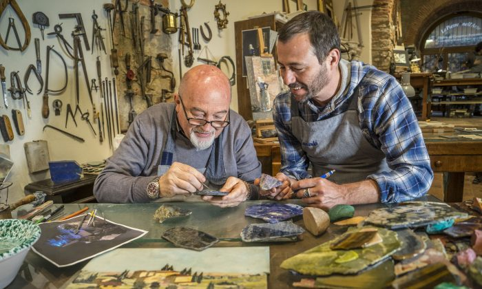 Renzo and Leonardo Scarpelli in the Scarpelli Mosaici workshop in Florence, Italy. (Guido Cozzi)