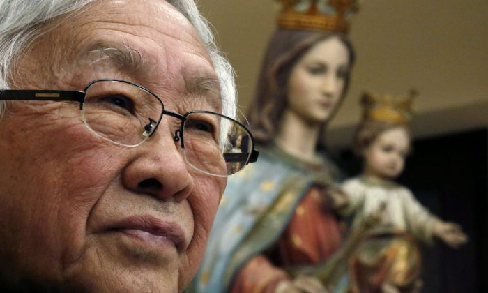 Former head of the Catholic Church in Hong Kong, Cardinal Joseph Zen, 86, attends a news conference in Hong Kong on Feb. 9, 2018. (Bobby Yip/Reuters)