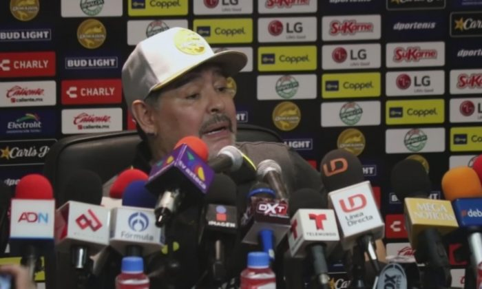 Soccer legend Diego Maradona speaks at a news conference after winning his first match as the new coach of the Los Dorados soccer team in Culiacán, Mexico, on Sept. 17, 2018. (Reuters)