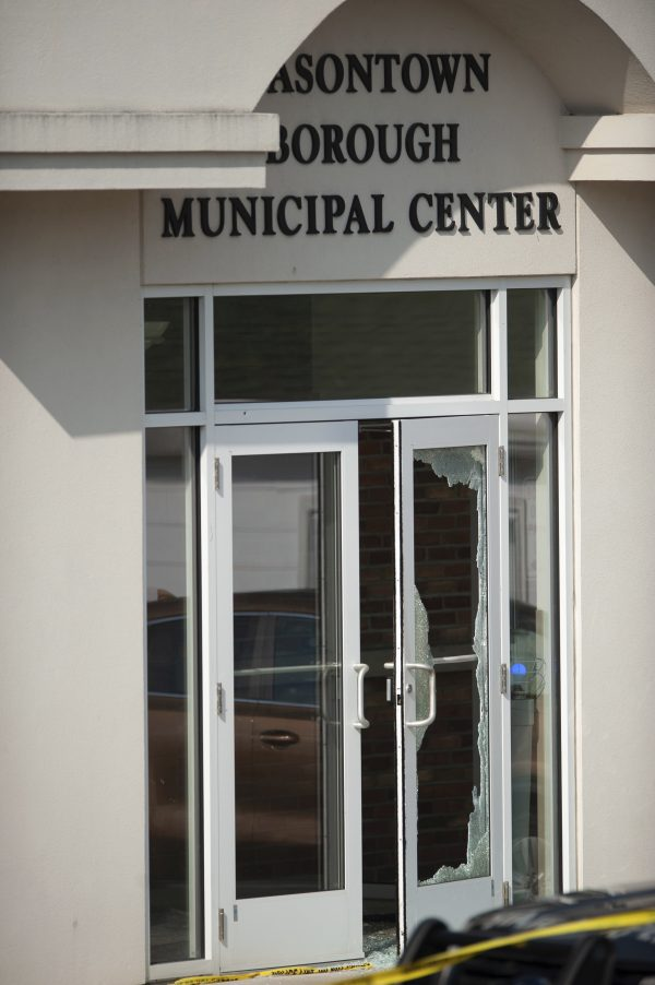 glass shattered door Masontown borough