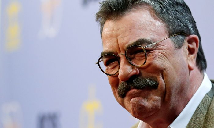 "Actor Tom Selleck poses as after arriving for the taping of ""The Carol Burnett 50th Anniversary Special"" at CBS Studios in Los Angeles, Oct. 4, 2017. (REUTERS/Mario Anzuoni)"