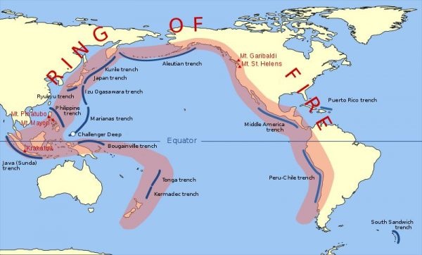 pacific ring of fire earthquake volcano