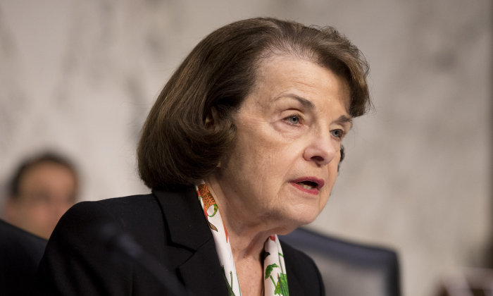 Ranking member Sen. Dianne Feinstein (D-Calif.) during a hearing about the massacre at Marjory Stoneman Douglas High School in the Hart Senate Office Building on Capitol Hill in Washington on March 14, 2018. (Samira Bouaou/The Epoch Times)