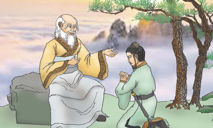 The supreme Old Lord teaching Iron Crutch Li Taoism. (Illustration by Sun Mingguo/Epoch Times)