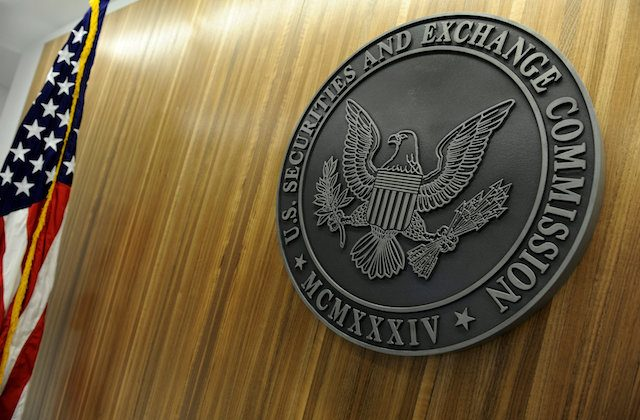 The seal of the U.S. Securities and Exchange Commission hangs on the wall at SEC headquarters in Washington, on June 24, 2011.   (Reuters/Jonathan Ernst)