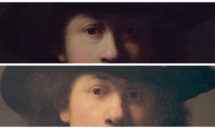 Top: A portrait, possibly a self-portrait by Rembrandt, currently undergoing authentication. (Courtesy of Anna Catellani) Bottom: Self-portrait of Rembrandt, 1632. The Burrell Collection. (CC BY-NC-ND)