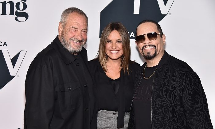 """Dick Wolf, Mariska Hargitay and Ice-T attend the """"Law & Order: SVU"""" 20th Anniversary Celebration the 2018 Tribeca TV Festival at Spring Studios in New York City on Sept. 20, 2018. (Theo Wargo/Getty Images for Tribeca TV)"""