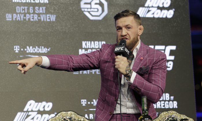 Conor McGregor participates in a news conference in New York, Sept. 20, 2018. McGregor is returning to UFC after a two-year absence. He fights undefeated Khabib Nurmagomedov on Oct. 6. (AP Photo/Seth Wenig)