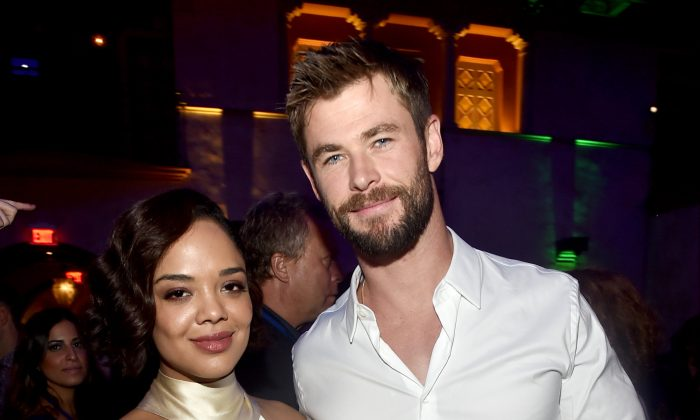 """Actors Tessa Thompson (L) and Chris Hemsworth at The World Premiere of Marvel Studios' """"Thor: Ragnarok"""" at the El Capitan Theatre on Oct. 10, 2017, in Hollywood, Calif.  (Alberto E. Rodriguez/Getty Images for Disney)"""