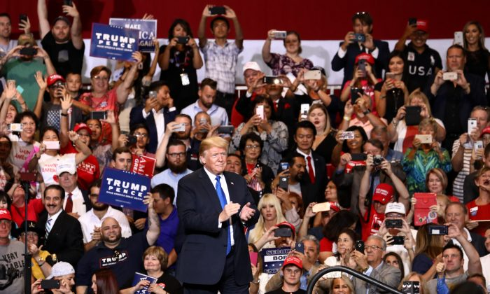 President Donald Trump at his Make America Great Again rally in Las Vegas, Nev., Sept. 20, 2018. (Charlotte Cuthbertson/The Epoch Times)