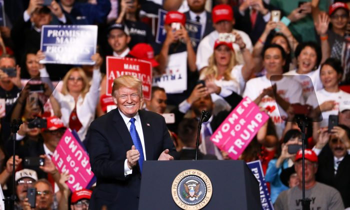 President Donald Trump at a rally in Las Vegas on Sept. 20, 2018. (Charlotte Cuthbertson/The Epoch Times)