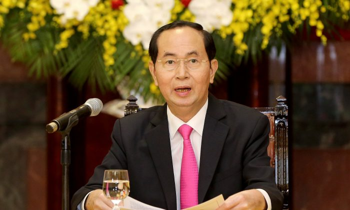 Vietnamese President Tran Dai Quang speaks during a press conference at the Presidential Palace in Hanoi, Vietnam 23 March 2018. (Minh Hoang/Pool via Reuters/File Photo)