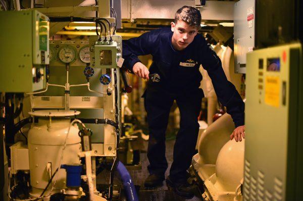 A crew member board HMS Vigilant nuclear submarine