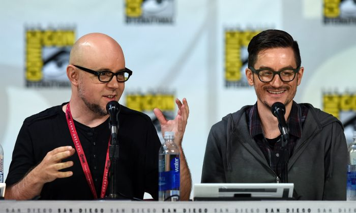 Michael Dante DiMartino (L) and Bryan Konietzko attend 2014 Comic-Con in San Diego on July 25, 2014. (Ethan Miller/Getty Images)