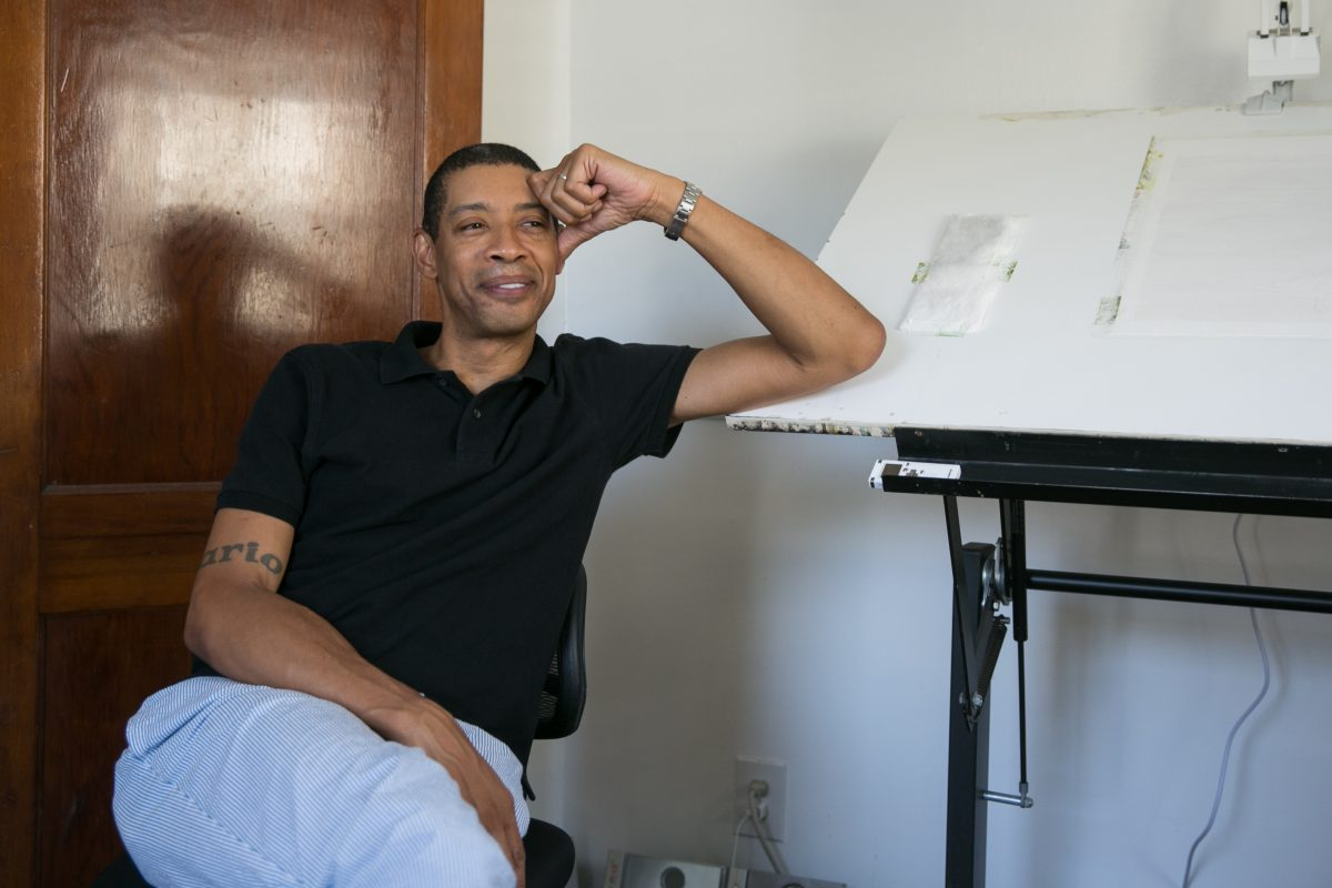 Mario A. Robinson in his studio at home in New Jersey