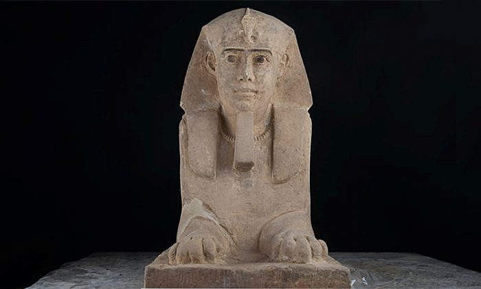 This sandstone statue of  a sphinx was discovered in Kom Ombo Temple in Aswan in upper Egypt—Reuters acquired the photo on Sept.16, 2018. (The Ministry of Antiquities/Handout via Reuters)
