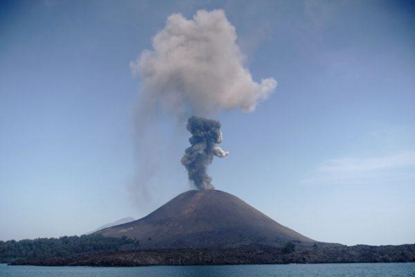 ash rises from the anak krakatau volcano