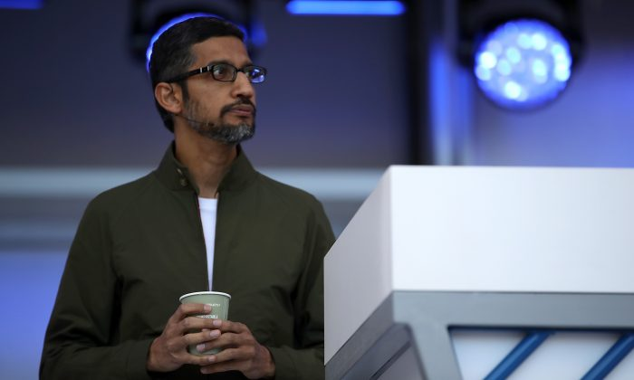 Google CEO Sundar Pichai at the Google I/O 2018 Conference at Shoreline Amphitheater in Mountain View, Calif., on May 8, 2018. (Justin Sullivan/Getty Images)