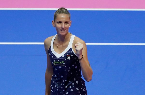Karolina Pliskova celebrates victory