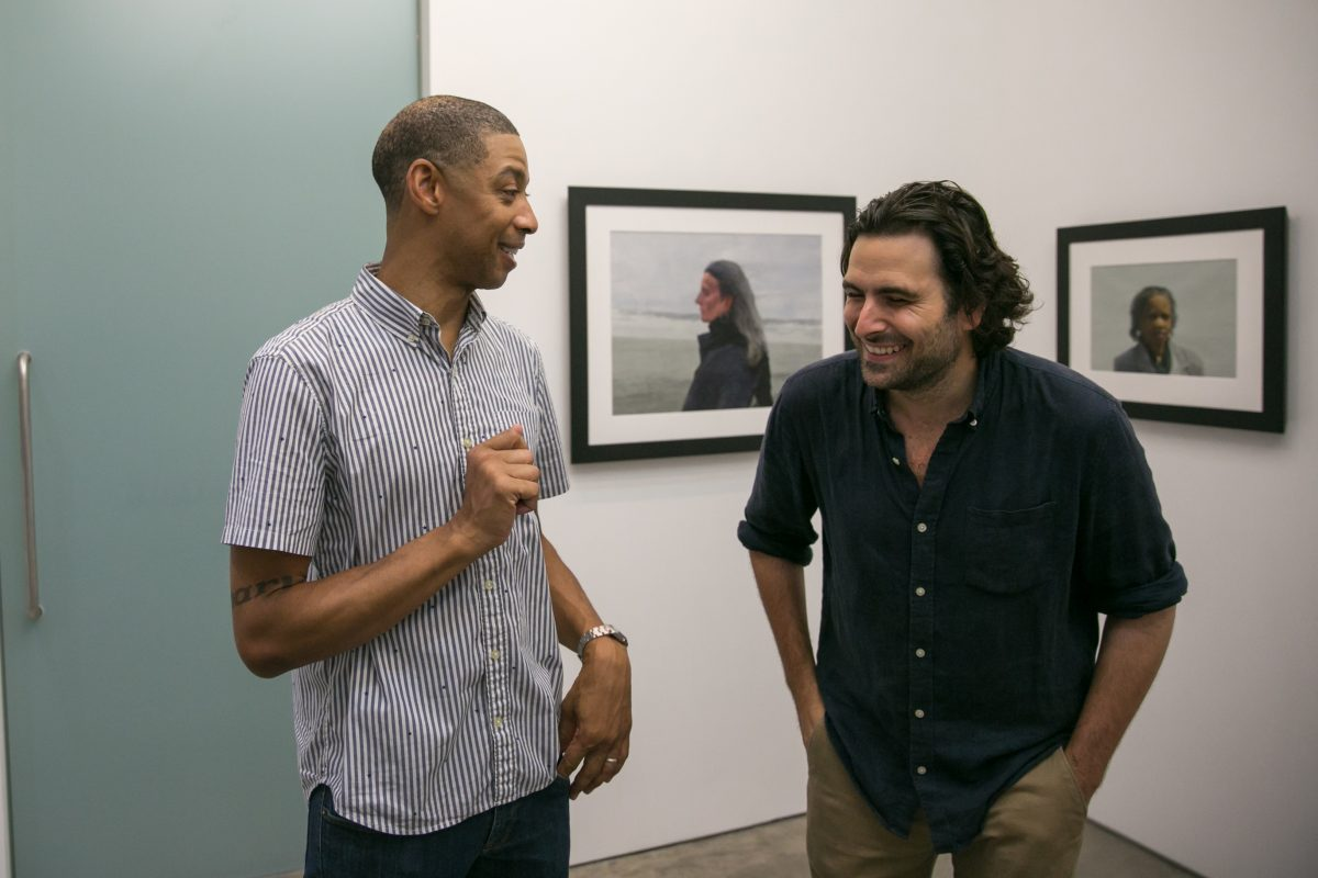 Artists Mario A. Robinson and Jordan Sokol celebrate at the opening at Bernarducci Gallery