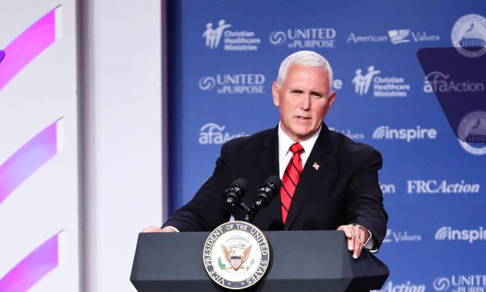 Vice President Mike Pence speaks at the Values Voter Summit in Washington on Sept. 22, 2018. (Holly Kellum/The Epoch Times)