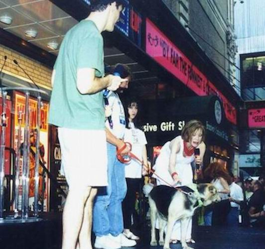 Duchess on stage at the 2nd Broadway Barks