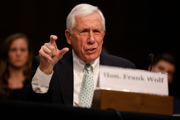 Retired Rep. Frank Wolf (R-VA) speaks to the Congressional Executive Commission on Human Rights on Capitol Hill March 1, 2017 in Washington, DC. (Aaron P. Bernstein/Getty Images)