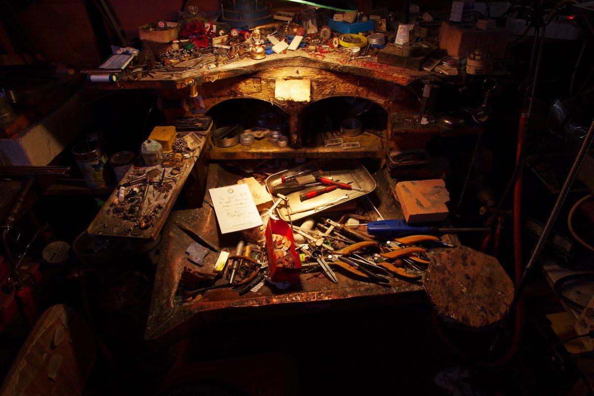 Goldsmith Alessandro Dari's workbench.