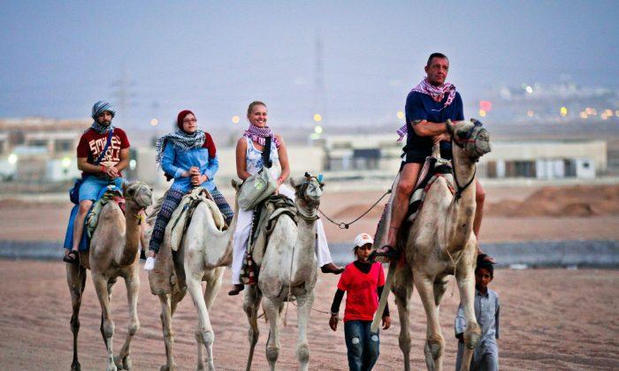 Tourists ride camels in Egypt's Red Sea resort of Sharm El-Sheikh on Nov. 4, 2015. (STR/AFP/Getty Images)