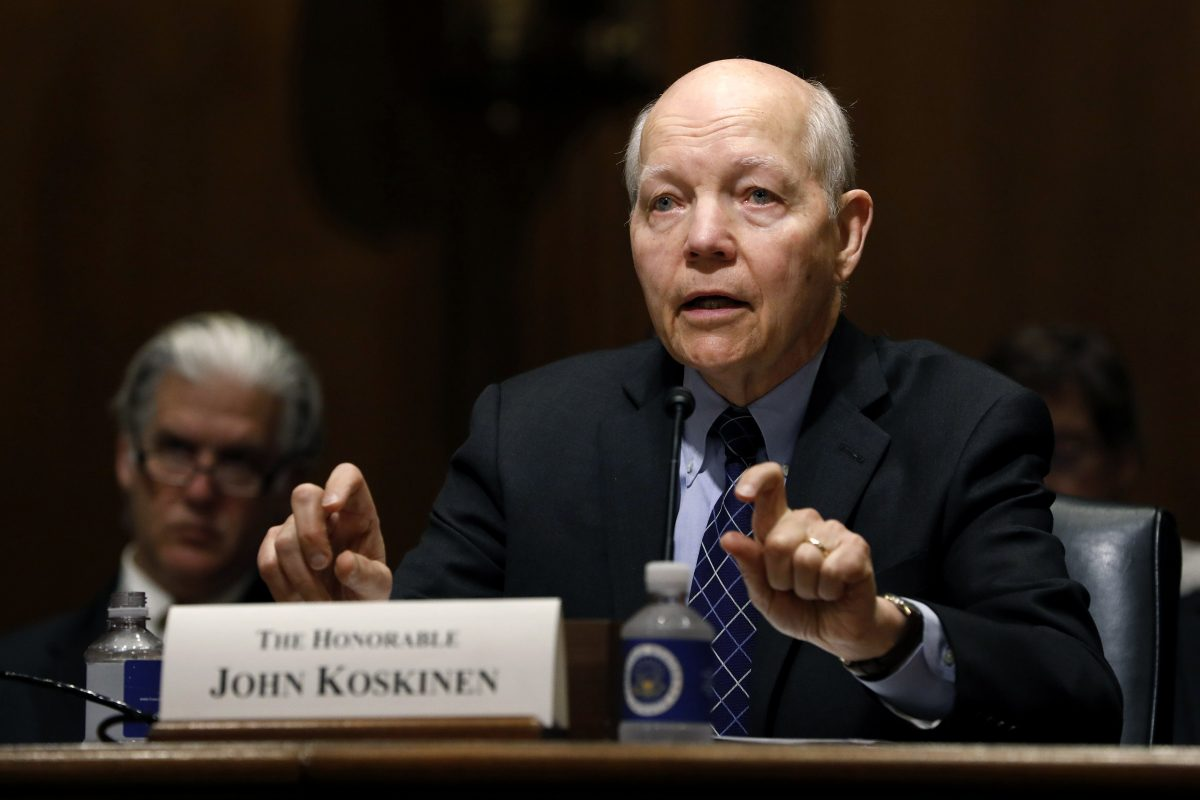 IRS Commissioner John Koskinen testifies before the Senate Finance Committee on Capitol Hill in Washington