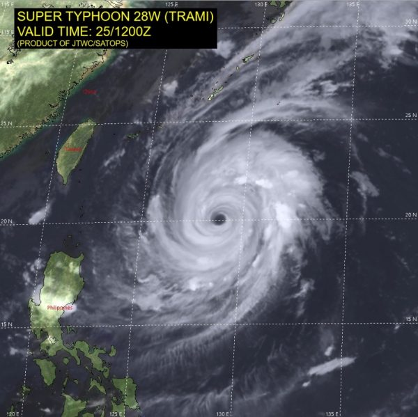 satellite map showing super typhoon Trami