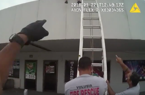 Burglar was stuck on a roof
