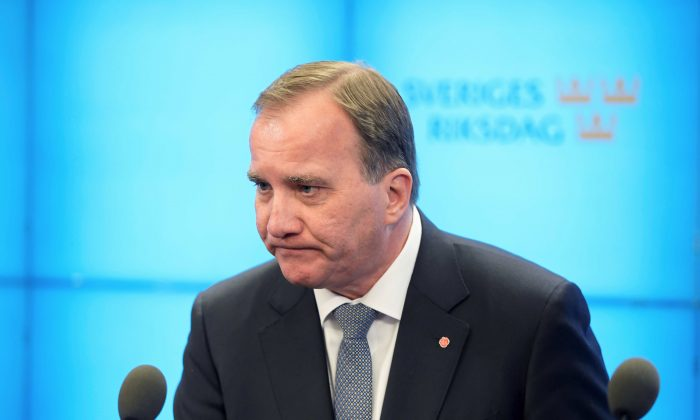 Swedish Prime Minister Stefan Lofven after he was ousted in no-confidence vote in Stockholm, Sweden on Sept. 25, 2018. (TT News Agency/Anders Wiklund via Reuters)