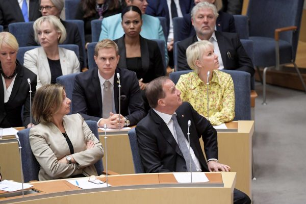 Swedish Prime Minister Stefan Lofven and deputy Prime Minister Isabella Lovin in the Swedish parliament