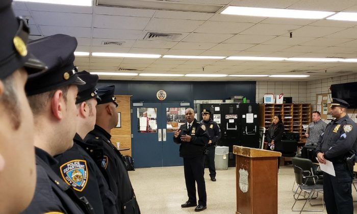 1.	NYPD Chief of Patrol Rodney Harrison speaks to 75th Precinct officers during roll call, Apr.9, 2018, Brooklyn, New York. (Courtesy NYPD)