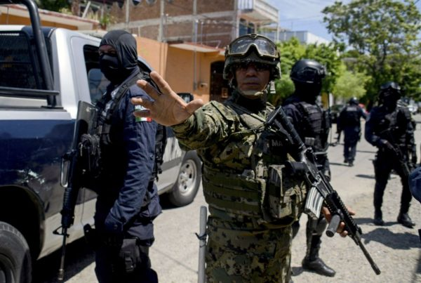 A Mexican soldier gesticulates