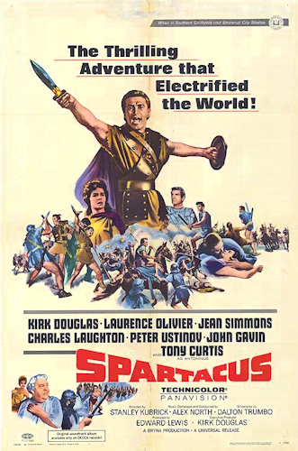 "A poster for the 1960 film ""Spartacus."""
