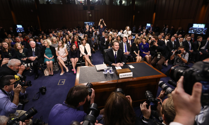 Judge Brett M. Kavanaugh testifies before the Senate Judiciary Committee during the first day of his confirmation hearing  to serve as Associate Justice on the U.S. Supreme Court at the Capitol in Washington on Sept. 4, 2018. (Samira Bouaou/The Epoch Times)