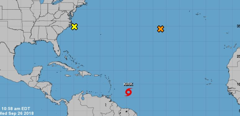 Tropical storm kirk and hurricane rosa formed