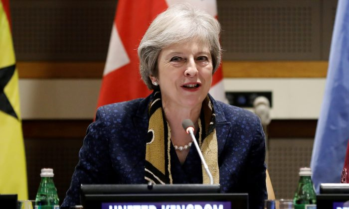 British Prime Minister Theresa May speaks at the U.N. headquarters in New York on Sept. 25, 2018. (Peter Foley/EPA-EFE/Pool via Reuters)