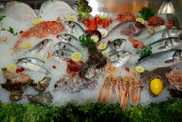 Seafood from the Adriatic Sea on a market in Venice.   (Probst/ullstein bild via Getty Images)