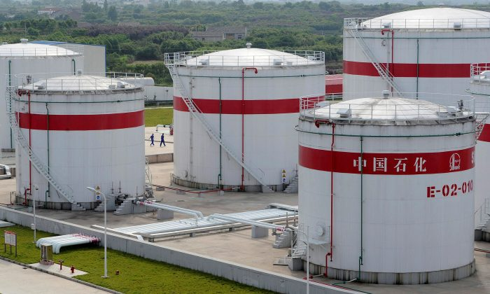 Oil tanks at a Sinopec plant in Hefei, Anhui Province, China on May 31, 2009. (Jianan Yu/Reuters)