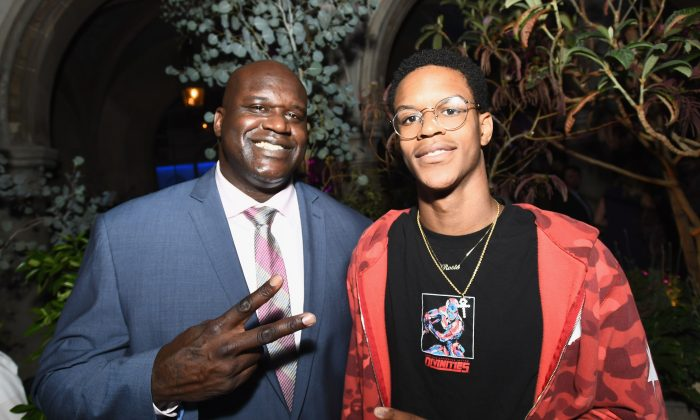Former NBA player Shaquille O'Neal (L) and son Shareef O'Neal at Apple Music Launch Party Carpool Karaoke: The Series with James Corden on August 7, 2017 in West Hollywood, California. (Emma McIntyre/Getty Images for Apple)