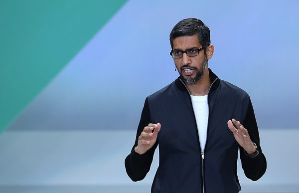 Google CEO Sundar Pichai at the Google I/O 2017 Conference at Shoreline Amphitheater in Mountain View