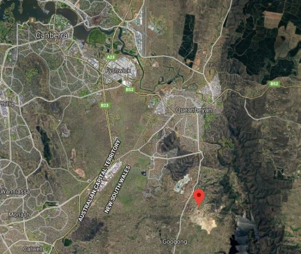 Map shows location of Googong Road