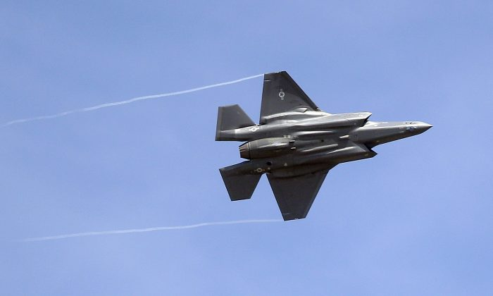 An F-35 jet arrives at its new operational base at Hill Air Force Base, in northern Utah on Sept. 2, 2015. (Rick Bowmer/AP Photo)